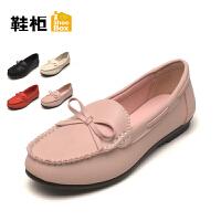 Daphne/达芙妮旗下女鞋秋舒适蝴蝶结平底低跟圆头单鞋女