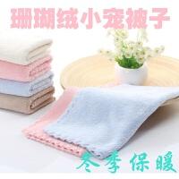 小宠物毛毯子被子蜜袋鼯松鼠刺猬豚鼠龙猫毛巾窝垫柔珊瑚绒加厚 粉红色 25*25厘米