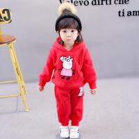秋冬装0-1-2-3-4岁男宝宝衣服婴儿童棉衣女童套装加厚卫衣三件套
