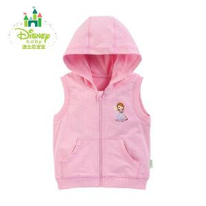 【卷后139元3件】迪士尼Disney 童装新款男女宝宝连帽马甲学院风春款马甲153S703