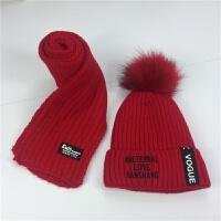 6儿童加绒帽子围巾两件套装3宝宝毛线帽秋冬季8男童5女童9护耳帽7 侧标加绒 红色 均码
