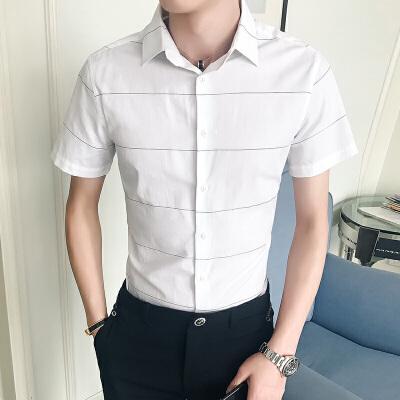 新款男士休闲短袖衬衫夏季气质潮流时尚韩版修身衬衣帅气1-4