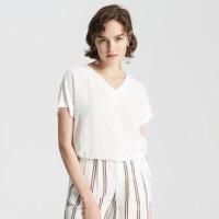 【1件2折到手价:69.8】莱赛尔亚麻MECITY女装性感V领短袖时髦套头衫