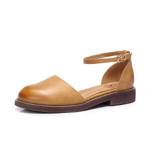 Camel/骆驼女鞋 2018春季新款 日系低跟单鞋简约舒适腕带圆头浅口鞋子