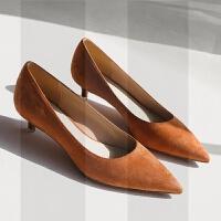 小清新高跟鞋女低跟细跟3cm尖头百搭韩版学生礼少女矮跟单鞋SN0404