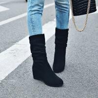 彼艾2018新款秋季女靴子平跟马丁靴中筒靴秋冬内增高磨砂皮平底靴女靴子