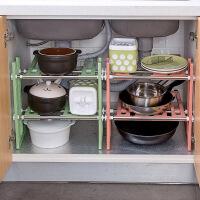 不锈钢伸缩碗架水槽下收纳置物架锅架厨房用品架子落地厨具收纳架