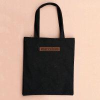 文艺帆布包女单肩包简约森系学生环保袋韩国女包夏手提购物袋 marvelous咖啡色字母-黑竖包