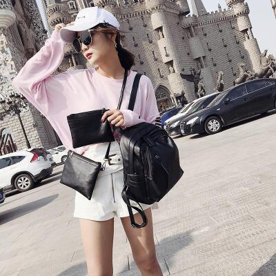 双肩包女韩版2018新款潮三件套女包包时尚百搭夏季书包妈咪背包
