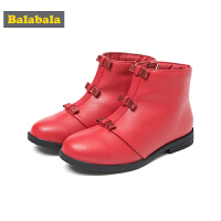巴拉巴拉儿童靴子女童冬季鞋2018新款保暖短靴冬季鞋潮小童加绒鞋