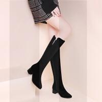 长靴不过膝网红瘦瘦靴2018新款冬季加绒磨砂粗跟高跟女鞋子高筒靴SN1267 黑色13 跟高4cm