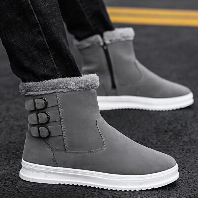 冬季雪地靴男防水中筒棉靴保暖加绒马丁靴英伦风高帮棉鞋