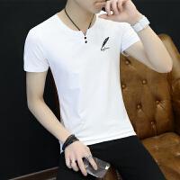 夏季男士V领短袖T恤夏天青少年韩版修身打底衫学生休闲体恤潮男装
