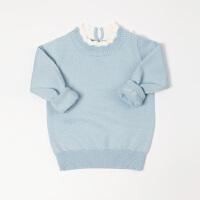童装婴幼儿套头女宝宝长袖针织衫男宝宝小童蓝色毛衣秋冬