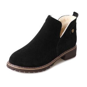 WARORWAR新品YM32-601冬季休闲磨砂反绒平底舒适女士靴子短靴