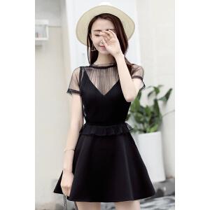 名媛风黑色吊带聚会派对小礼服蕾丝连衣裙V领修身显瘦小黑裙