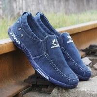 一脚蹬男士帆布鞋秋冬季低帮休闲鞋懒人鞋加绒保暖布鞋男