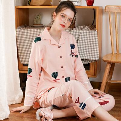 芬腾 睡衣女士18年秋季新品棉质卡通印花长袖开衫休闲家居服套装可外穿让爱芬腾 芬腾家居服