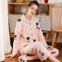芬腾 睡衣女士18年秋季新品棉质卡通印花长袖开衫休闲家居服套装可外穿