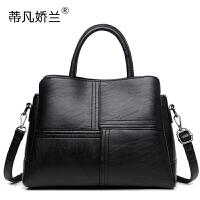 中年女包手提包女2018新款简约软皮单肩斜挎包时尚女士包包妈妈包SN8608