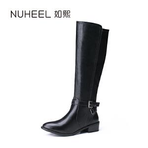 如熙 2017秋冬新款女靴 保暖舒适 时尚皮带扣骑士女靴
