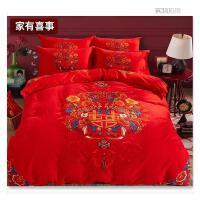 床上用品欧式结婚四件套大红新婚结婚用的床品龙凤春秋季婚礼
