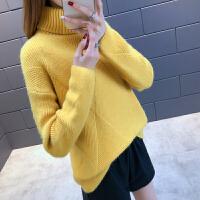 时尚高领毛衣加厚女冬套头保暖打底上衣新款潮短款宽松针织衫外穿 均码