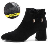摩伊拉蝴蝶结短靴女粗跟2018新款春秋季磨砂黑色踝靴高跟短筒裸靴