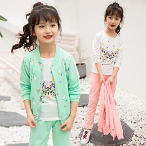 女童秋装套装2017新款小女孩儿童运动服装中大童春秋季三件套童装