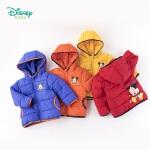 迪士尼Disney童装 男童中长款棉服轻暖防寒冬季新品夹棉连帽外套194S1128