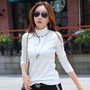 秋季新款高领简约体恤韩版百搭字母印花收腰长袖t恤女打底衫