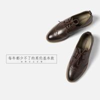 青婉田2018新款布洛克英伦风女鞋 复古休闲牛津鞋 平跟真皮单鞋女