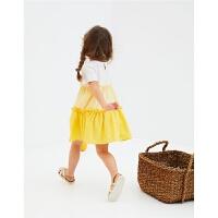 女童夏季薄款纯棉裙子亮黄色白色拼接裙子宽松休闲短袖连衣裙