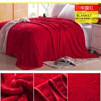 2019毛毯冬季珊瑚绒毯子加厚法兰绒床单双人单人午睡空调毯毛巾薄被子1 红色 中国红
