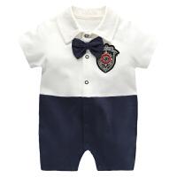 婴儿衣服连体衣短袖爬爬服 夏季新生儿男宝宝绅士哈衣外出服