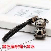 创意腰挂情侣钥匙圈链 可爱LED灯小熊钥匙扣女汽车包包挂件 +黑色编织绳