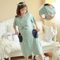 连衣裙外穿休闲月子服短袖宽松薄款睡衣孕妇睡裙夏季哺乳睡裙喂奶