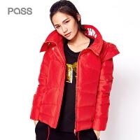 PASS冬季新款大红色加厚保暖时尚甜美宽松羽绒服女短款 高领