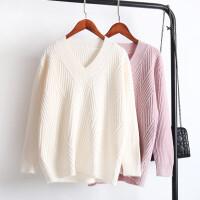 2018春季新款学生V领毛衣女套头纯色针织打底衫冬 均码