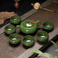结婚回礼礼品青瓷茶具套装定制logo生日寿宴*回礼伴手礼实用 白色 深绿色专色 7件