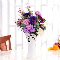 紫色仿真花白色花瓶花艺套装家居客厅艺术装饰花摆件
