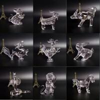 水晶摆件水晶十二生肖鼠牛虎兔龙蛇马羊猴鸡狗猪家居酒柜装饰 一套 十二个