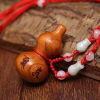 木雕配饰福禄钥匙扣汽车挂件项链桃木葫芦挂件六字真言