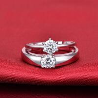 s925银开口情侣对戒 经典六爪单锆钻石戒指 送情人节礼物