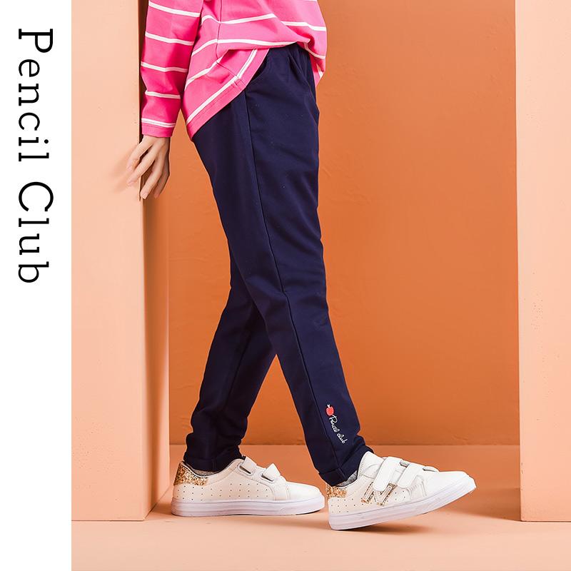 【2件3折:38.7】铅笔俱乐部童装2020春季新款女童长裤中大童外穿裤子儿童针织裤子