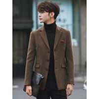 羊毛呢西装外套男修身韩版潮加厚帅气呢子秋冬季休闲小西服上衣单