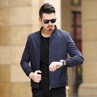 2018春季新款商务休闲时尚立领春秋季薄款中年男士夹克衫纯色外套