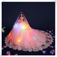 品质芭比娃娃婚纱洋超大90厘米单个摆件公主套装女孩生日礼物儿童 高50cm拖尾90cm左右