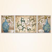 客厅装饰画沙发背景墙餐厅挂画欧式三联壁画北欧现代麋鹿装饰墙画 整套(中间106*86/左右66*86) 简欧米