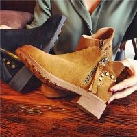 欧洲站秋季新款真皮短靴女英伦风铆钉切尔西靴女鞋复古粗跟女靴潮
